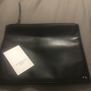 Elizabeth and James Black Leather Pouch